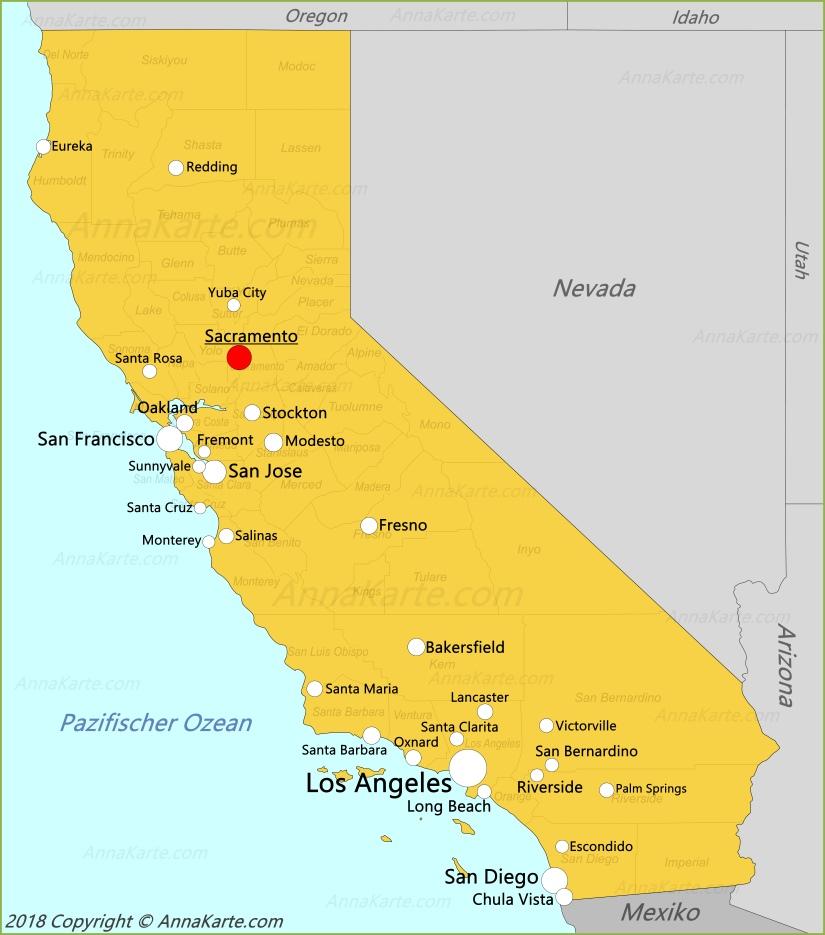 Kalifornien Karte Vereinigte Staaten Annakarte Com
