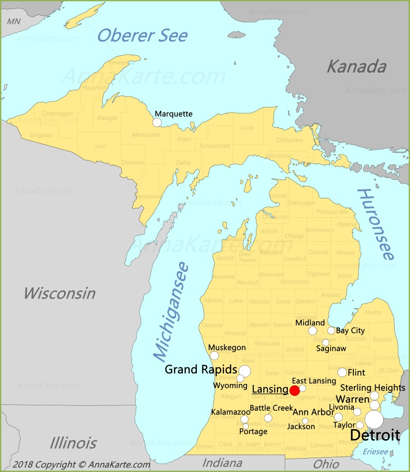 Michigan Karte Vereinigte Staaten Annakarte Com