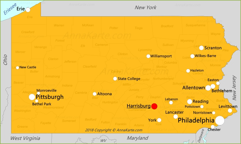 Pennsylvania Karte Vereinigte Staaten Annakarte Com