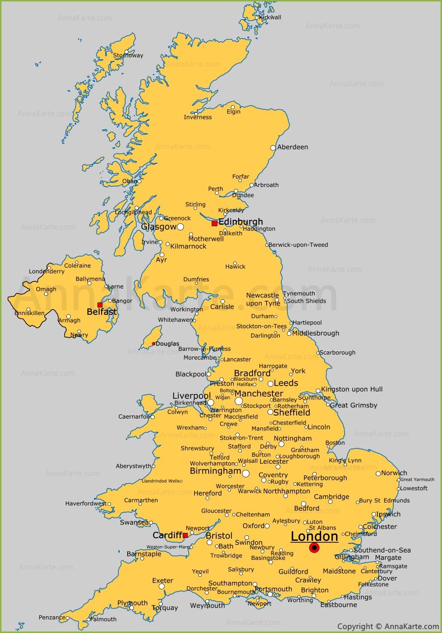 Irland Karte Städte.Vereinigtes Königreich Karte Vereinigtes Königreich Politische